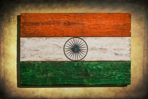 Handmade Flags - handmade distressed wooden flag of india vintage