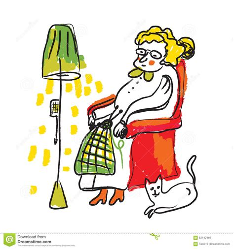 Old lady knitting clipart 34