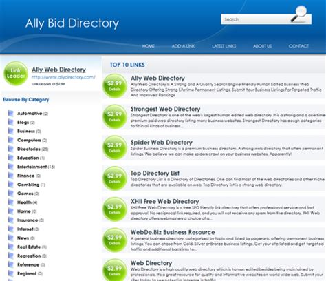 Phplinkbid Templates Ally Web Directory Template Directory