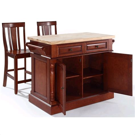 Crosley Butcher Block Top Kitchen Island Crosley Oxford Butcher Block Top Kitchen Island With Stools In Cherry Kf300061ch