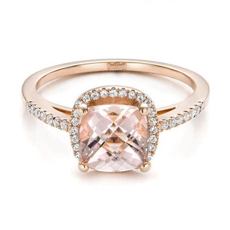 custom morganite and halo gold engagement