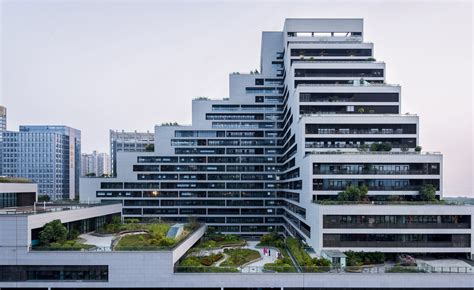 create a building cascading shenzhen office building luxuriates under a