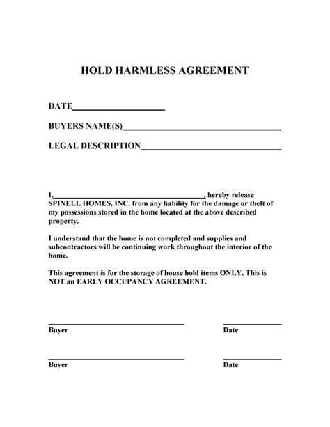 Release And Hold Harmless Letter 40 Hold Harmless Agreement Templates Free Template Lab