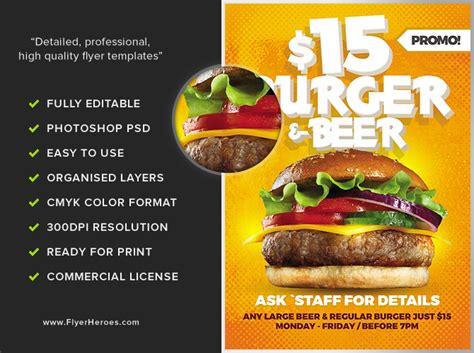 template flyer burger burger and beer flyer template flyerheroes
