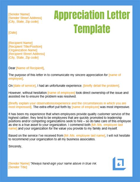 sample appreciation letter business writing templates