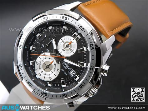 buy casio edifice chronograph genuine leather band mens