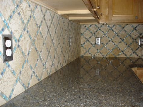 travertine and glass backsplash tek tile custom tile