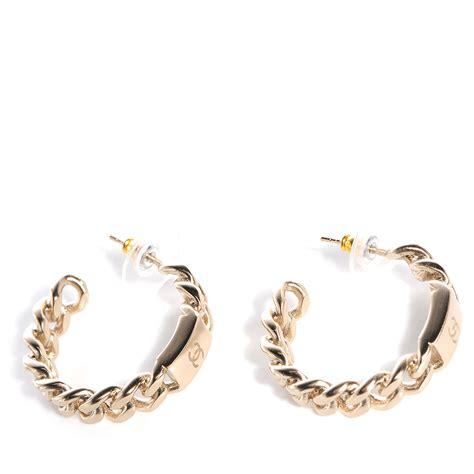 Chain Hoop Earrings chanel cc chain hoop earrings gold 73931