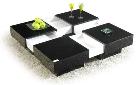 Modern Black And White Square Coffee Table With Storage Black And White Modern Coffee Table