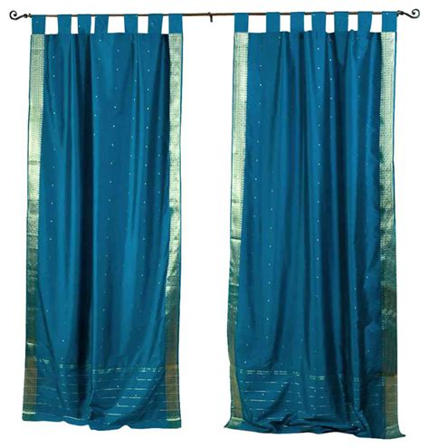 turquoise tab top curtains turquoise tab top sheer sari curtain drape and panel