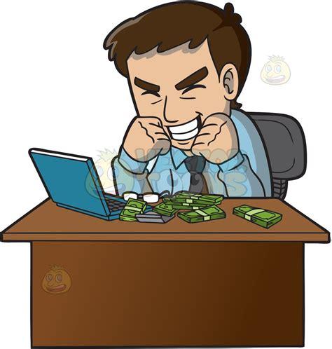 How To Make Money With Art Online - cartoon clipart an ecstatic man making money online