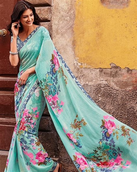 Floral Print Blouse Material For Saree by Saree Blouse Designs February 2016