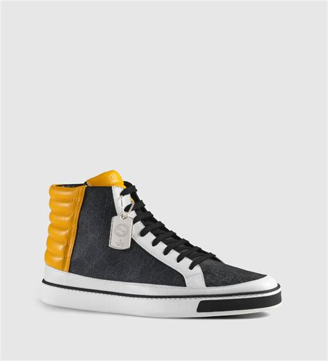 black and white gucci sneakers gucci gg supreme and leather high top sneaker in black for