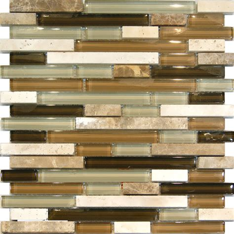 mosaic backsplash tiles sle marble travertine stone green brown glass linear
