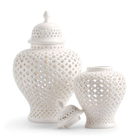 white ginger jar pierced white ginger jars home accessories pinterest
