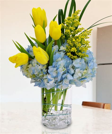 Coloured Glass Vase Spring Flowers Carithers Flowers