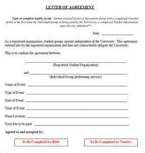 Agreement Letter Exles Letter Of Agreement 15 Free Documents In Pdf Word