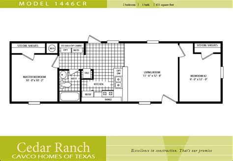 1 bedroom mobile homes floor plans cavco homes floor plan bedroom bath single wide kaf