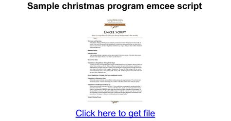 christmas emcee sle debut program script just b cause