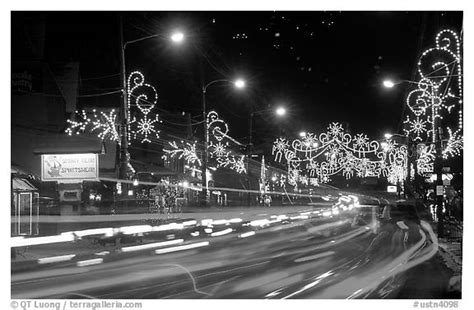 black and white picture photo christmas lights and
