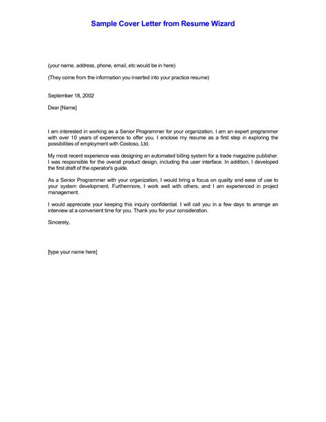 cover letter for resumes exles cover letter format
