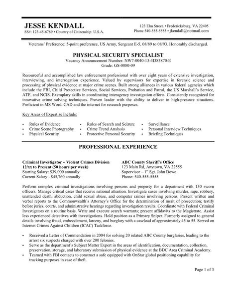 hospital security resume security resume federal resume exle free federal