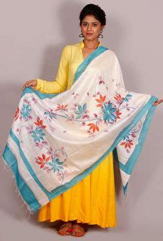 Longdres Tunic Black By Ashira painted and appliqued on yellow saree with