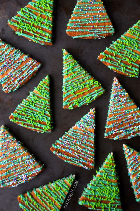 just a taste christmas tree shortbread cookies