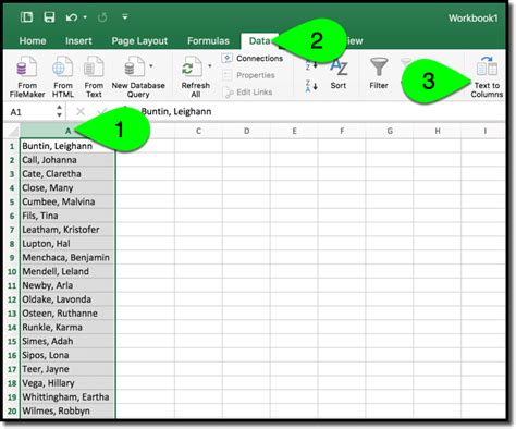 how to separate names in excel numbers and sheets