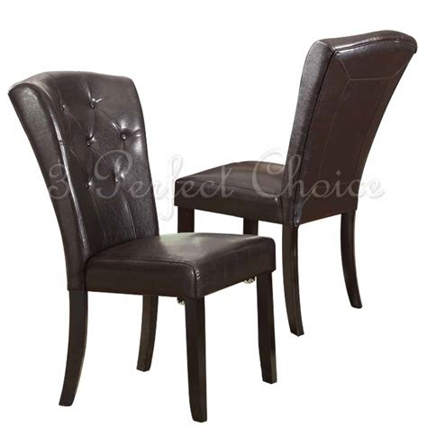 Wide Leather Chair by Set Of 2 Dining Side Chair Upholstered Espresso Faux