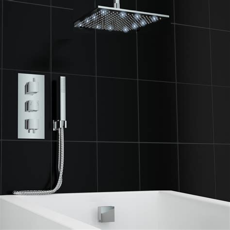 Concealed Ceiling by Concealed Thermostatic Mixer Shower 300mm Led Ceiling Set