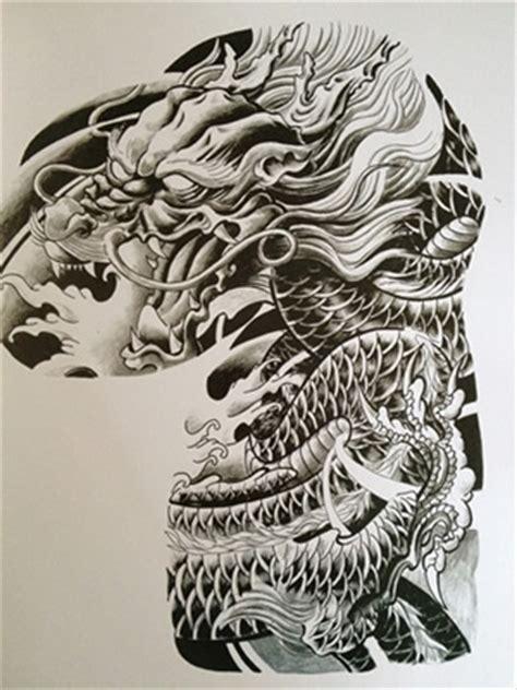 tattoo dragão oriental preto e branco tcm supply