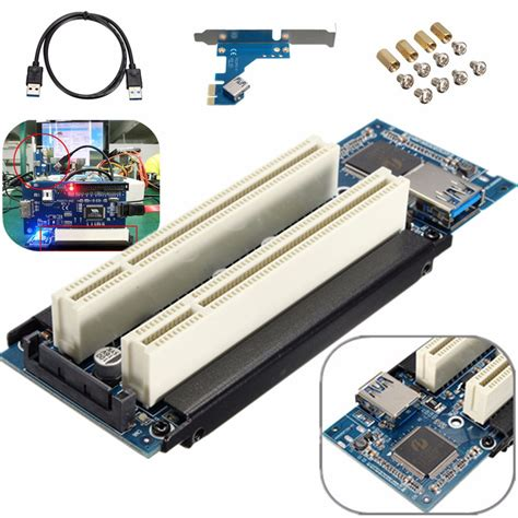 pcie x1 x4 x8 x16 to dual pci slots adapter pci express to