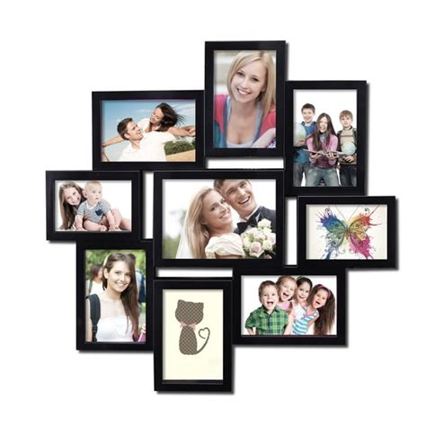 7 photo collage frame 9 opening 4x6 and 5x7 black plastic wall hanging collage