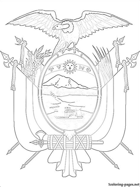 Ecuador Coat Of Arms Coloring Page Coloring Pages Ecuador Coloring Pages