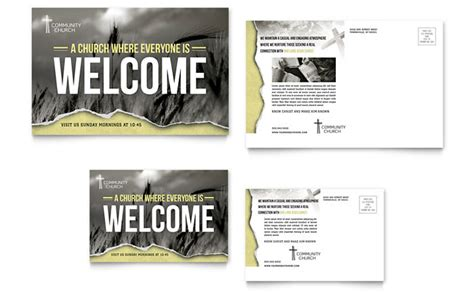post card template ideas bible church postcard template design