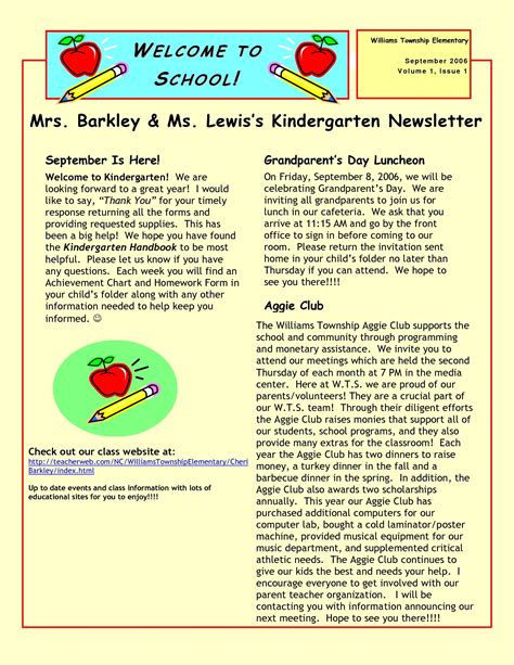 Sle Kindergarten Newsletter Www Researchpaperspot Com Elementary Newsletter Templates