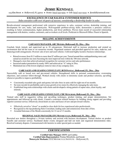 car resume exles resume template exles sales senior executive car with