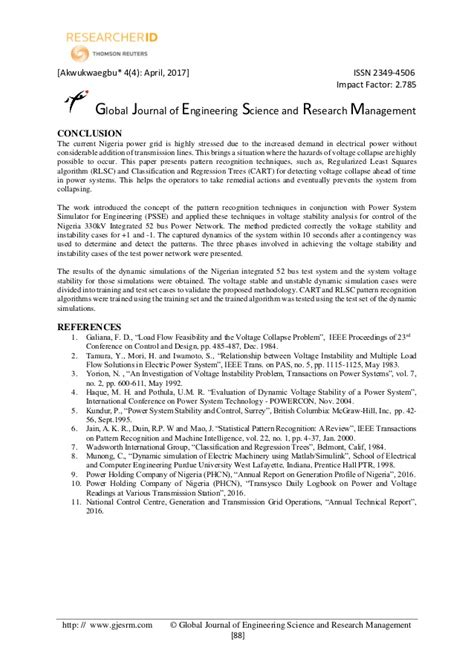 pattern recognition and image analysis springer impact factor voltage stability in nigeria 330kv integrated 52 bus power
