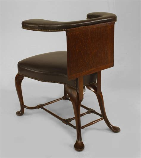 Upholstered Reading Chair 19th Century Style Leather Upholstered