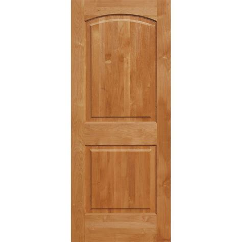 Pre Hung Solid Wood Interior Doors Krosswood Doors 32 In X 96 In Superior Alder 2 Panel Top Rail Arch Solid Left Wood