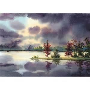 Landscape Artists Watercolor Sunset Boat Painting Watercolor Landscape Painting Original