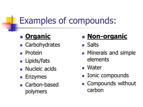 exle of organic compound the components of organic chemistry ppt