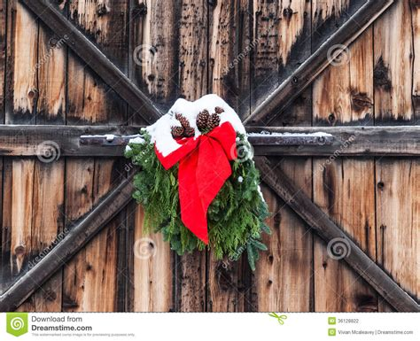 decorating a steel barn for christmas decoration on barn stock photo image 36128822