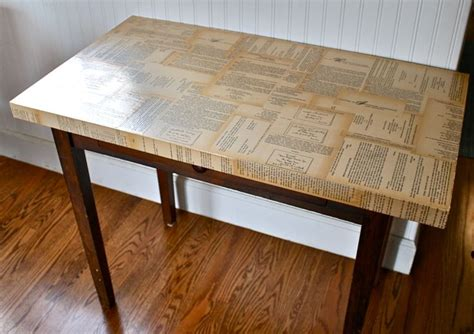 decoupage tabletop decoupage book pages table project bedroom