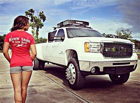 girl  white dually duramax diesel truck gallery