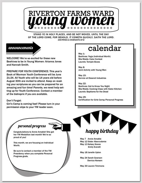 2013 Yw Newsletter Template Editable Saveable Pdf Hang A Ribbon On The Moon Editable Newsletter Template