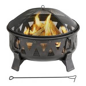 Wood Burning Firepits Shop Garden Treasures 29 92 In W Antique Black Steel Wood Burning Pit At Lowes