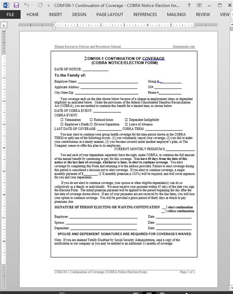 Cobra Insurance Sle Letters Cobra Continuation Of Coverage Request Template