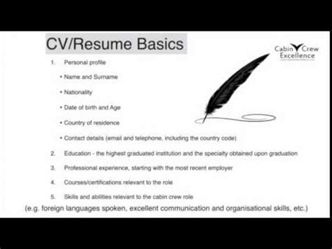 How To Prepare For A Cabin Crew by Cabin Crew Tips Cv Resume Basics Your